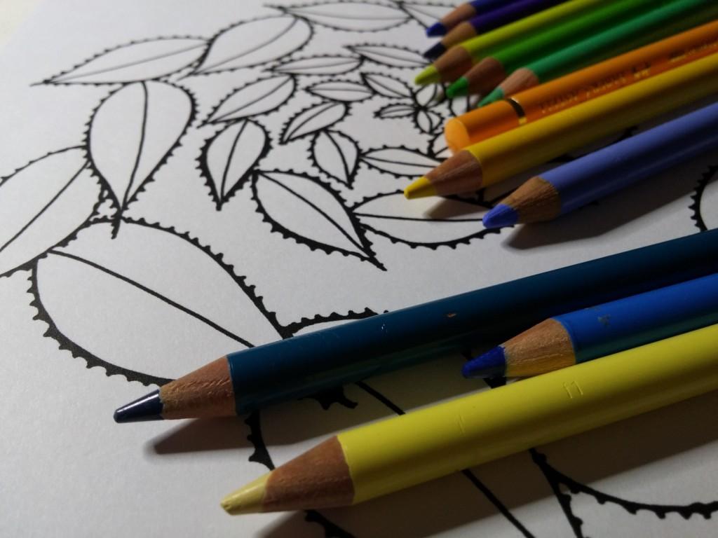spirale feuille avec crayons